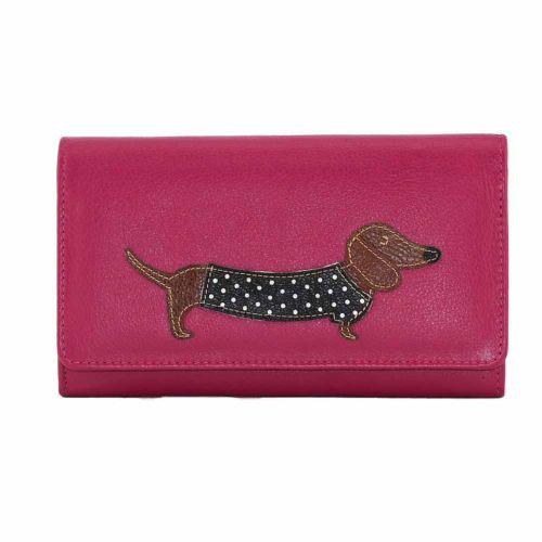 Mala Leather Best Friends Sausage Dog Dachshund Flap Over Purse in Pink
